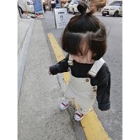 女童背带裤婴幼儿连体裤 2017秋季新款韩版纯色百搭裤子潮