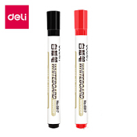 得力白板笔 学生涂鸦绘画色泽明亮可擦易擦白板笔 黑+红 2支