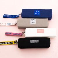 小清新简约帆布笔袋可爱小学生中学生大学生铅笔盒男女生韩国创意文具袋