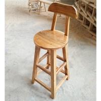实木吧台椅吧椅子高脚凳简约高凳复古酒吧椅靠背家用圆凳凳子 by