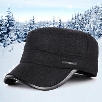 帽子新款秋冬季中老年户外加厚保暖护耳帽男士休闲平顶帽
