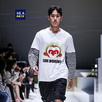 HLA/海澜之家卡通悟空短袖T恤2019夏季大闹天宫系列短t男女同款