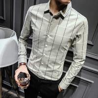男装衬衫2018春装时尚修身潮流男士长袖衬衫英伦休闲暗格条纹寸衫