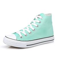 帆布鞋女韩版白色平底板鞋经典高帮情侣学生鞋系带运动女鞋子