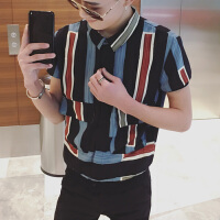 夏季新款男士短袖�r衫修身�n版撞色�l�y�r衣潮流青年���獗】畲缟�
