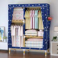 【满减优惠】出租房衣柜简易布衣柜实木布艺组装小户型结实耐用挂衣服柜子家用