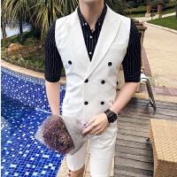 2018夏男士两件套无袖西服套装韩版修身潮流青年短袖马甲背心西装