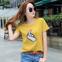 半袖女新款韩版百搭女款短袖衫夏季黄色上衣宽松纯棉女士T恤