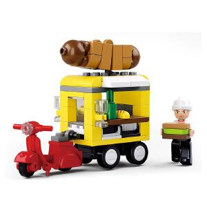 【当当自营】小鲁班模拟城市系列儿童益智拼装积木玩具 热狗快餐车M38-B0565
