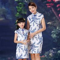 青花瓷儿童旗袍亲子装 女童中式母女装 小孩女孩母子装