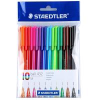 德国STAEDTLER施德楼432彩色圆珠笔原子笔多色圆珠笔10只 M尖 10色