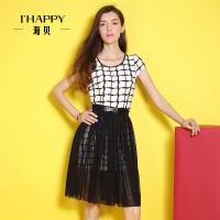 【2件5折】海贝格纹圆领短袖连衣裙网纱可拆裙摆