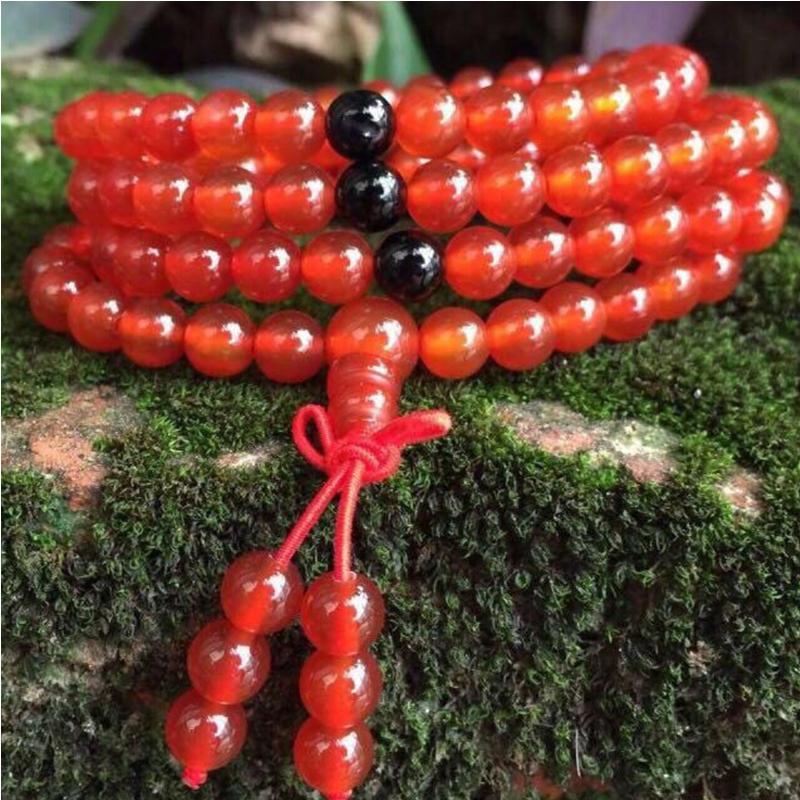 天然玉石精美红玛瑙108颗念珠四圈手串手链【TQYS-48A274#】