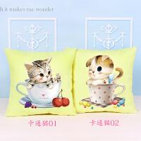 客厅沙发靠垫十字绣新款十字绣抱枕卡通动漫可爱猫咪一对枕头