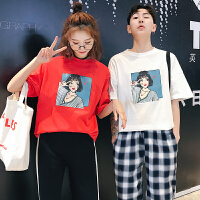 情侣装夏装新款韩版女宽松学生韩范短袖T恤半袖上衣潮流班服
