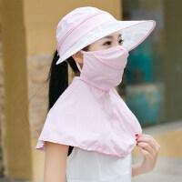 可折叠太阳帽女遮阳帽户外骑车防晒帽防紫外线遮脸电动车帽子
