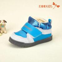 红蜻蜓童鞋皮面拼接韩版圆头高帮舒适儿童休闲鞋