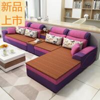 现代简约布艺沙发冬夏两用藤板沙发大小户型客厅贵妃拆洗整装家具定制