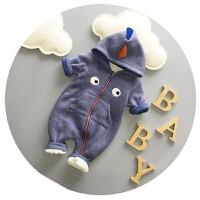 婴儿连体衣加厚抓绒新生儿衣服秋冬宝宝可开裆卡通哈衣3-6-9个月