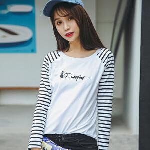 薄款长袖女t恤宽松拼接条纹韩版学生百搭打底衫秋冬装新款上衣