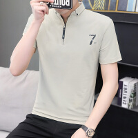 �n版男�b短袖T恤夏季新款潮流�r衫�IPOLO衫百搭修身衣服