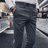 夏季九分裤男修身型商务休闲西装裤 韩版显瘦小脚裤潮流条纹9分裤