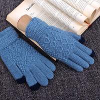 韩版加厚防滑学生款骑车控毛线手套男士触屏手套男 冬季
