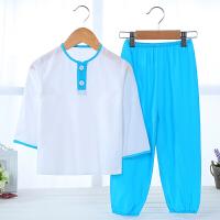 夏季儿童绵绸女套装中大童棉绸家居服睡衣男童竹纤维薄款空调服 天蓝色 007