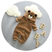 婴儿衣服连体衣秋冬季加厚男宝宝冬装爬爬服3-6-9个月可爱哈衣潮