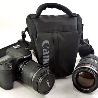 佳能单反相机包三角包EOS60D 6D7D 70D80D 5D2 5D3便携单反包腰包 大号(含肩带+防雨罩)