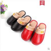 小孩子牛皮拖鞋冬季保暖居家室内地板男女宝宝防滑儿童棉拖毛拖鞋