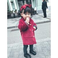 女童外套秋冬加厚加绒儿童宝宝韩版全棉中长款洋气秋装大衣