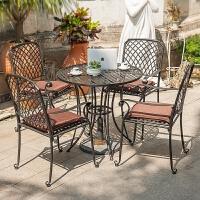 欧式铁艺庭院户外花园桌椅三件套咖啡阳台茶几休闲组合套件套装椅 09款 直径80CM桌