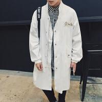 秋季新款男士中长款风衣外套 日系原创贴标休闲纯色宽松披风