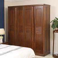 卧室四门柜子大衣柜立柜 胡桃木实木四门衣柜北欧风格家具