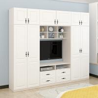 现代简约实木衣柜电视柜一体简易白色卧室组装家具组合木质柜子 2门;组装