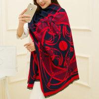 韩版加厚超长百搭仿羊绒女士披肩围巾两用女士围巾