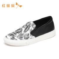 红蜻蜓情侣款春季新款潮流印花休闲舒适单鞋时尚休闲-