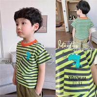 男童童装T恤休闲短袖儿童条纹上衣中小童宝宝薄款