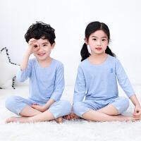 儿童家居服夏季薄款童装男童女童睡衣七分袖宝宝空调服套装