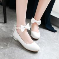 12-15岁小高跟鞋女童韩版白色春秋单鞋中大童蝴蝶结公主皮鞋