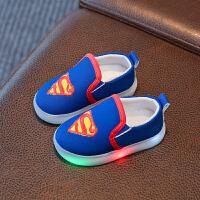 【】乌龟先森 儿童帆布鞋 男童女童秋季韩版新款LED发光帆布鞋卡通透气学步鞋灯鞋休闲鞋