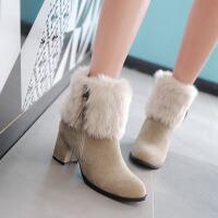 彼艾2017秋冬季新款毛毛靴子粗跟防水台高跟短靴侧拉链磨砂皮马丁靴女靴子