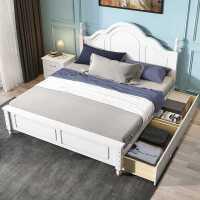【满减促销】实木床1.8米双人床现代简约单人床1.2主卧家用1.5m白色韩式田园床