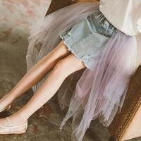 女童半身裙夏季儿童纱裙蓬蓬裙牛仔网纱半裙