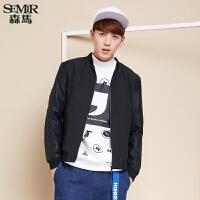 森马夹克 冬装 男士立领纯色创意pu拼接舒适外套韩版潮流