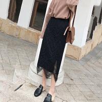 半身裙 女士拼接两穿蕾丝半身裙2019秋季新款韩版时尚女式洋气针织裙女装包臀裙
