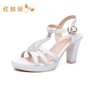 红蜻蜓2018新款高跟女凉鞋
