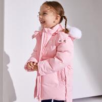 【2件5.5折到手价:240】小猪班纳童装女宝宝中长款羽绒服冬季女小童鸭绒外套儿童保暖风衣