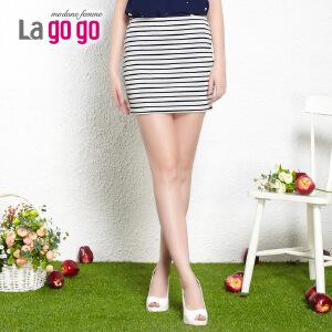 【618大促-每满100减50】lagogo拉谷谷2014夏季新款条纹显瘦时尚包臀女半裙